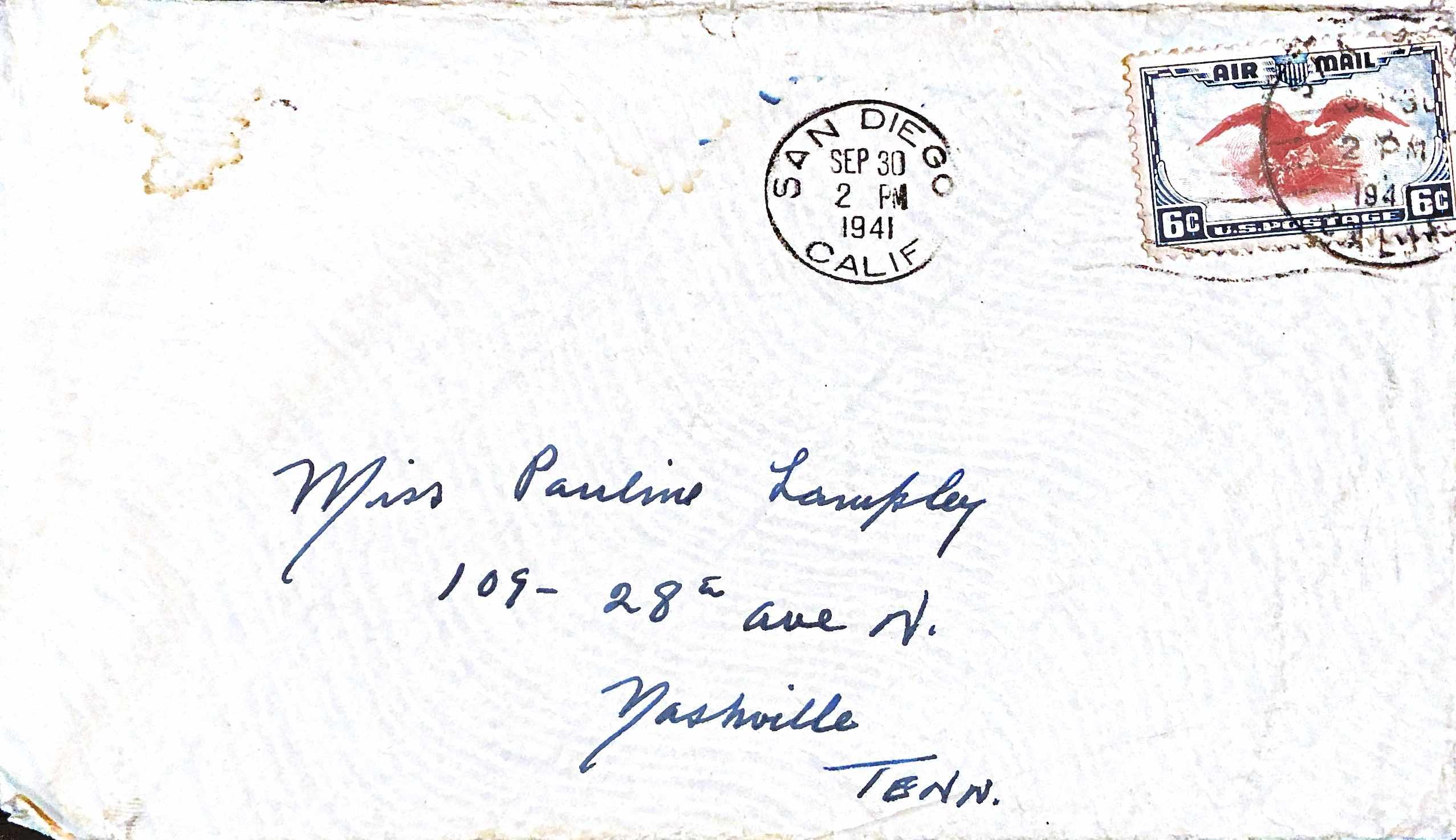 September, 29 1941 Dear Pauline