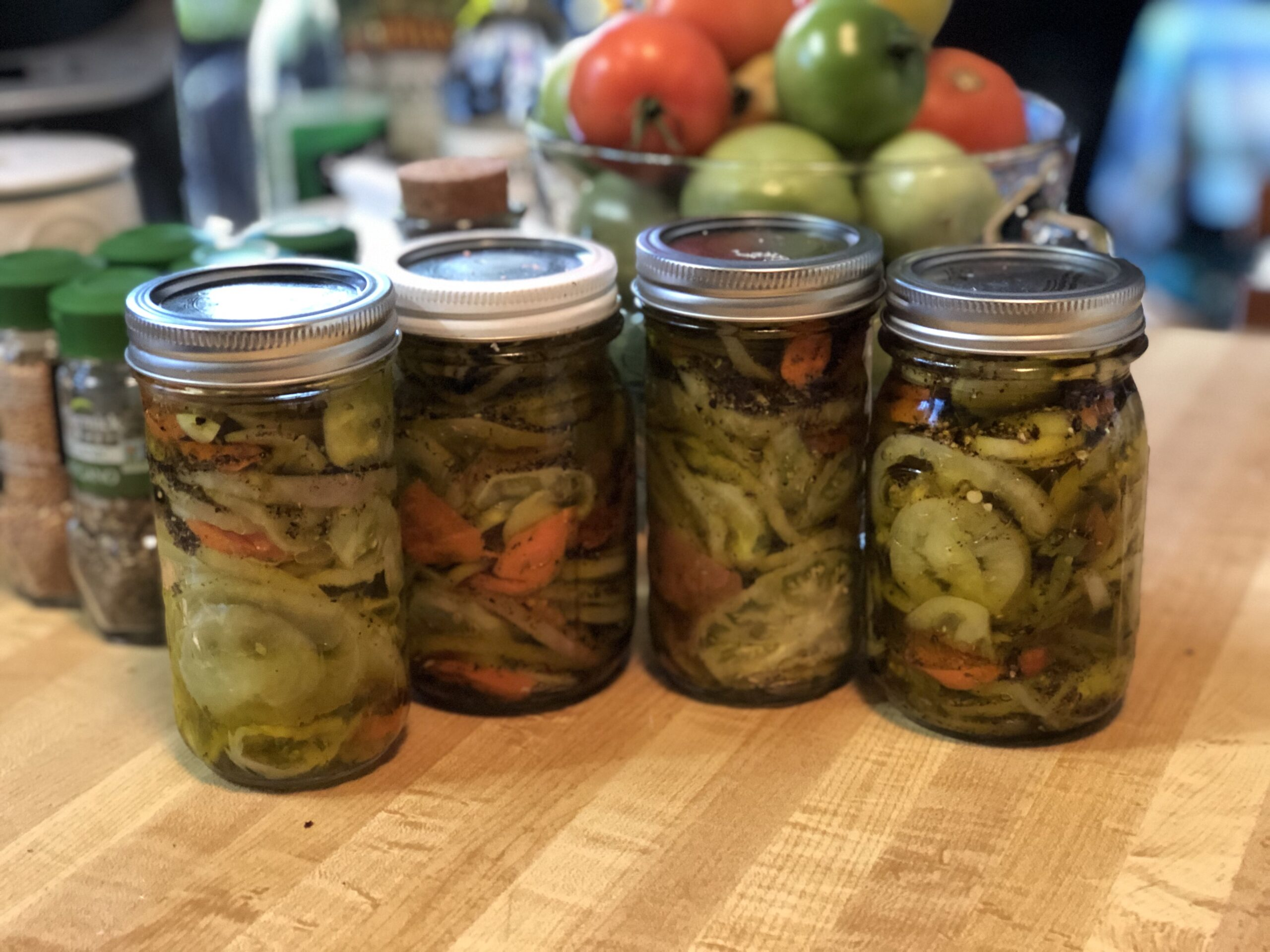 Fall Harvest Pickled Green Tomatoes